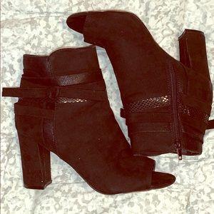 Black suede peep toe booties